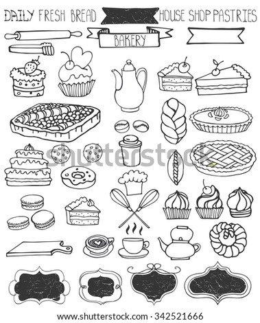 Bakery Doodle vector.Sweet cakes and pastries icons set with tableware,badges decor.Linear vintage elements for logo,label,menu,cafe shop. Flat hand drawn isolated items collection