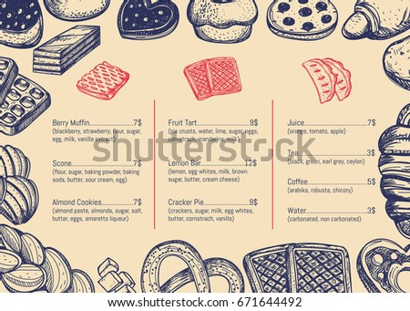 Bakery hand drawn restaurant menu brochure. Sweet pastry price catalog, handmade bread product shop banner, traditional tasty food card vector illustration. Puff, pie, bagel and cookie sketches