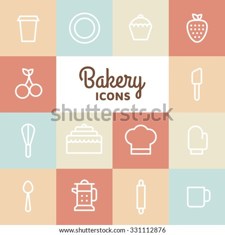 Bakery icon set. Kitchen tools background. Cake, cherry, cup, spoon, strawberry, plate, apple, cupcake on white background. Vector elements for your design.