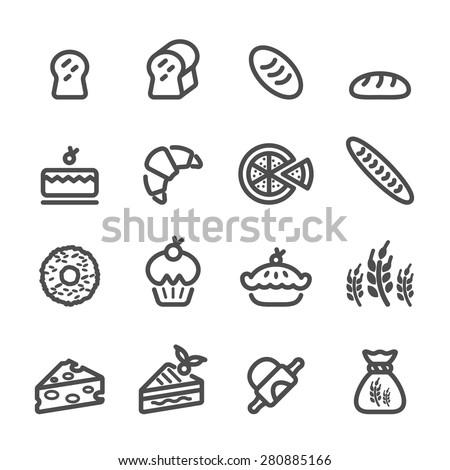 bakery icon set, line version, vector eps10. - stock vector
