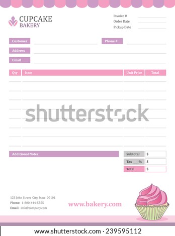 bakery invoice template stock vector 239595112 shutterstock
