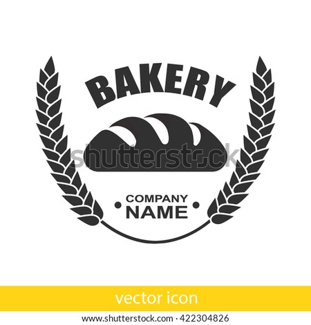 Bakery logo with wreath of ears of corn and fresh bread. Vector bakery icon isolated.