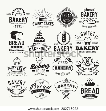 Bakery logotypes set. Retro Bakery labels, logos, badges, icons, objects and elements. - stock vector