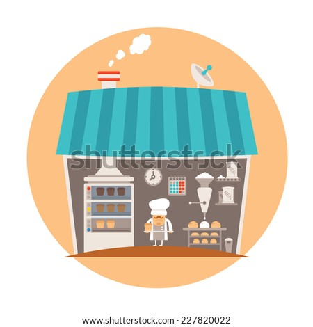 Bakery or bakeshop vector concept - stock vector