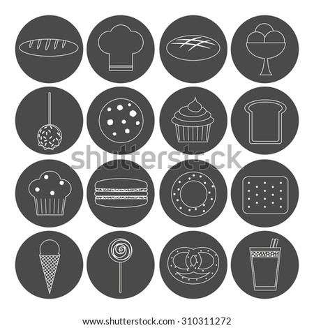 Bakery outline icons set. Loaf, chef hat, bread, ice cream, caramel apple, cookie, cupcake, muffin, macaron, bagel, cracker, lollipop, bun, cocoa.