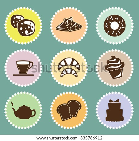 Bakery, pastry icons set - bread, donut, cake, cupcake. Can be used as a poster - stock vector