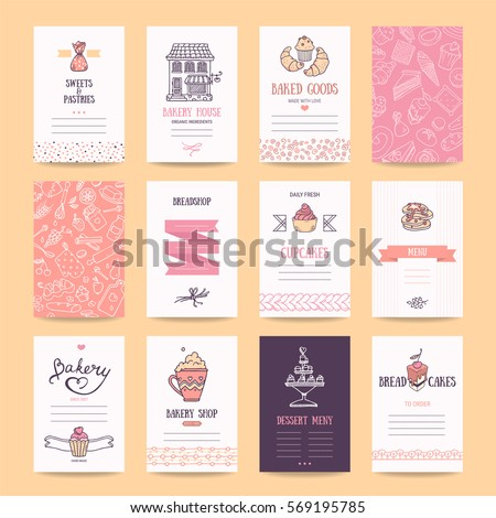 Bakery pastry shop business cards cafe em vetor stock 569195785 bakery pastry shop business cards cafe poster restaurant menu food flyers reheart Choice Image