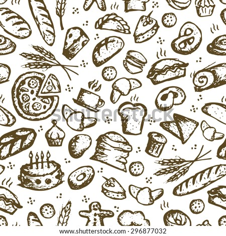 Bakery seamless pattern, sketch background for your design. Vector illustration - stock vector