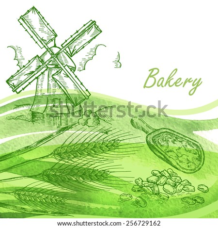 Bakery set. Hand drawn windmill, wheat, grain with green watercolor background - stock vector