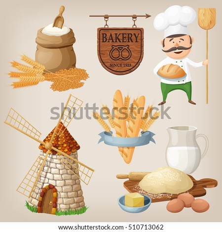 Bakery set. Set of cartoon characters and icons for food design situations.