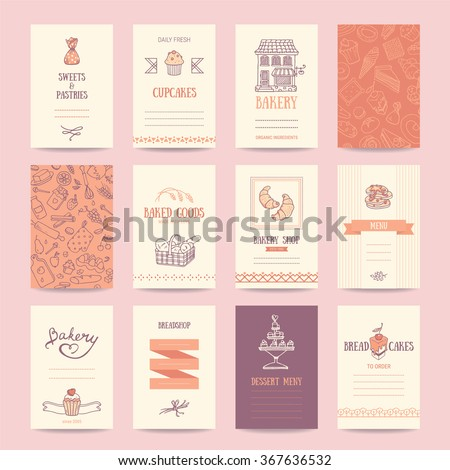 Bakery shop business cards, cafe menu, restaurant banners, food flyers. Artistic templates collection with hand drawn design elements: candy, cake, croissant, pancake, bread, muffin, sweets pattern.  - stock vector