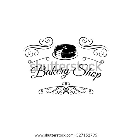 Bakery Shop Vintage Label Chocolate Cake Stock Photo (Photo, Vector ...