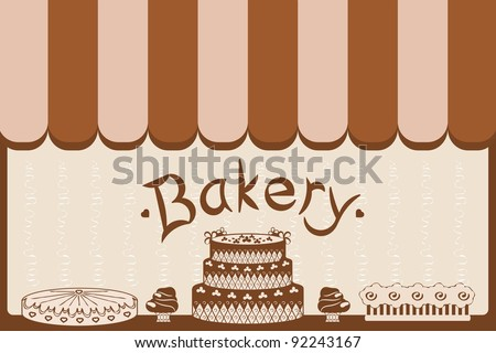 bakery shop window with cakes - stock vector