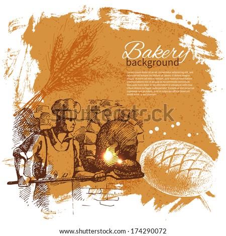 Bakery sketch background. Vintage hand drawn illustration - stock vector