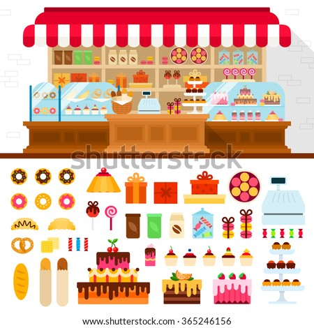 Bakery vector flat illustrations. Shop with different confectionery. Many candies, cakes, pies, buscuits and other sweet things isolated on white background - stock vector