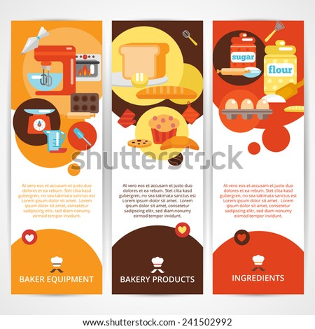 Bakery vertical banner set with premium goods bread daily fresh pastries isolated vector illustration - stock vector