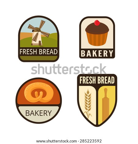 Bakery Vintage Labels vector icon design collection. Shield banner sign. Shop, Store Logo. Mill, Spike, Bread, Cake flat icons. - stock vector