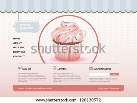Bakery website template - stock vector
