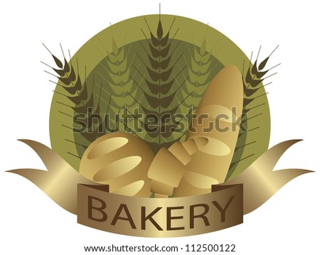 Bakery with Wheat Stalks French Bread Loaf and Croissant Pastry Label Illustration - stock vector