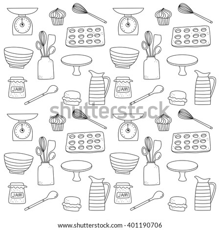 Baking and Kitchen Equipment doodle icon background illustration - stock vector