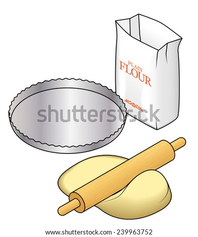 Baking concept: rolling out pastry dough with a rolling pin. With a packet if flour and an empty pie tin. - stock vector