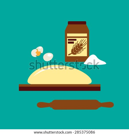 Baking concept with flour in a jar and dough on a wooden board with a rolling pin - stock vector
