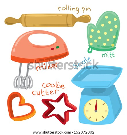 baking equipment doodle - stock vector