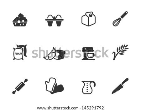Baking icons in single color - stock vector