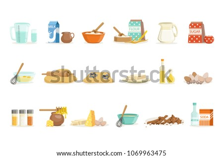 Baking Ingredients And Kitchen Tools And Utensils Set Of Realistic Cartoon  Vector Illustrations With Cooking Related
