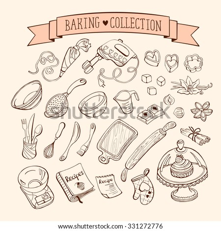 Baking items collection in doodle style. Hand drawn kitchen tools set.  - stock vector