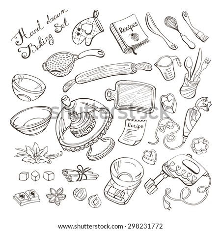 Baking items doodle set. Vector illustration. Isolated on white background. Kitchen tools outlines for coloring book - stock vector