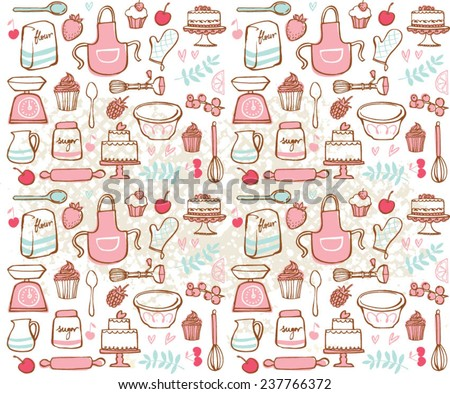 Baking kitchen icons seamless grunge background - stock vector