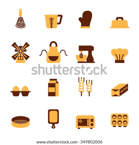 Baking Tool Icons Set. - stock vector