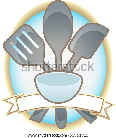 Baking Utensils Oval Blank Banner - stock vector