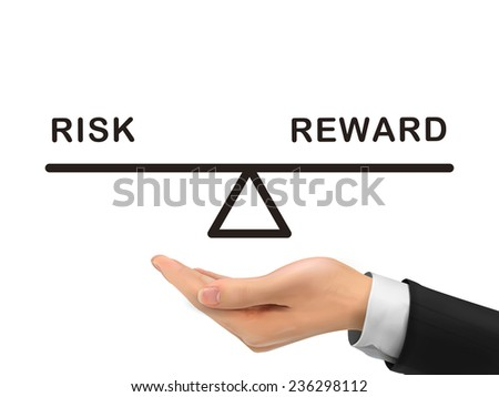 balance between risk and reward holding by realistic hand over white background - stock vector
