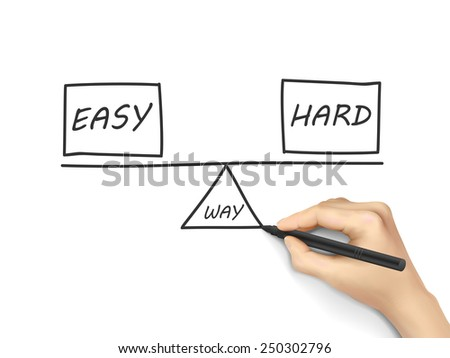 balance between ways of reaching a solution drawn by human hand over white background - stock vector