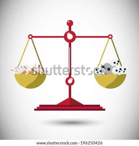 balance scale between cigarette and skull - vector illustration - stock vector