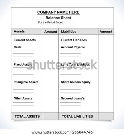 balance sheet format, unfill paper balance invoice form - vector eps10 - stock vector