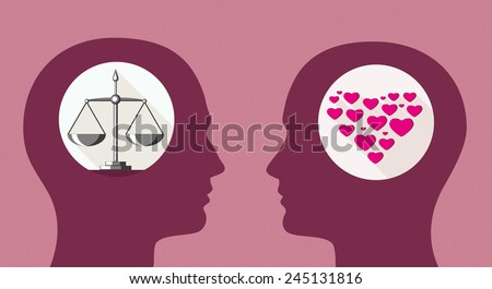 Balanced man and emotional woman. Decision making. Gender relations. Vector - stock vector