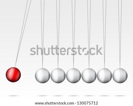 Balancing balls Newton's cradle on a white background. - stock vector