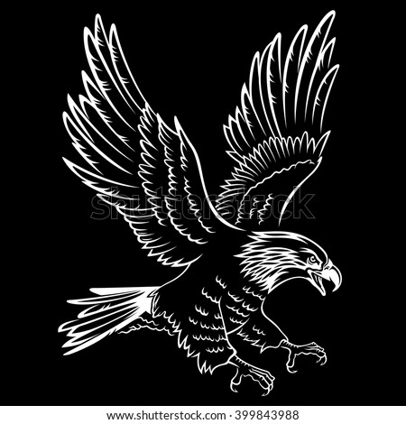 Bald eagle silhouette isolated on black this vector illustration can be used as a print