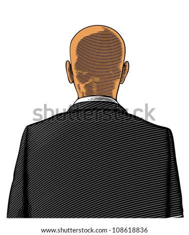 Bald man in suit from back or rear view in engraved style on transparent background - stock vector