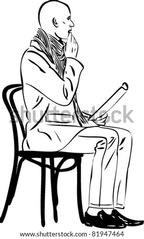 bald man that is troubled by reading while sitting on a wooden chair