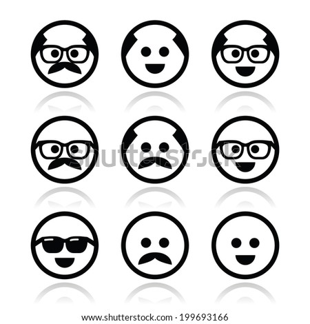 Bald man with mustache and in glasses faces icons set  - stock vector