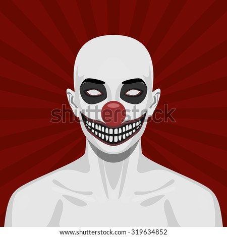 Bald scary Clown with smiling Face. Halloween Vector Illustration - stock vector