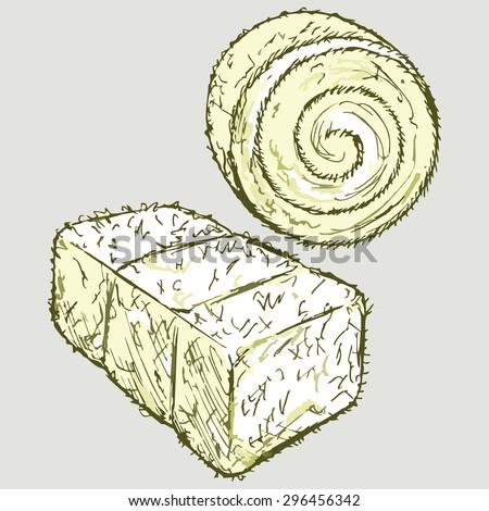 Bale of hay. Vector Image - stock vector