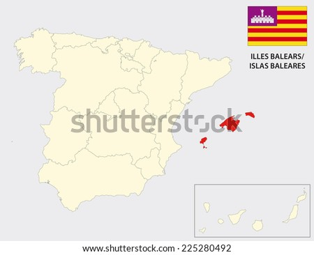 balearic islands map with flag - stock vector