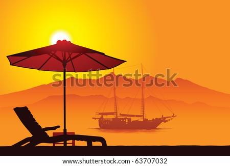 Bali beach - stock vector