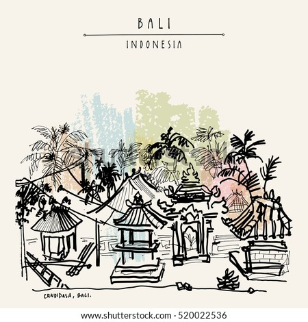 Balinese compound in the tropical jungle with palm trees in Candidasa, Bali, Indonesia, Asia. Hand drawing. Travel sketch. Book illustration, postcard or poster in vector