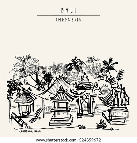 Balinese compound in the tropical jungle with palm trees in Candidasa, Bali, Indonesia, Asia. Hand drawing. Travel sketch. Book illustration, postcard or poster template in vector
